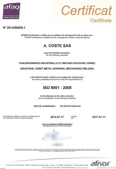 Certification ISO 9001 2008 chaudronnerie mecano soudure COSTE